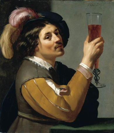 Young Man Drinking a Glass of Wine- Jan van Bijlert .